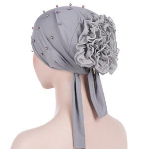 Musulmán Para Mujer Bead Pre Tied Bandana Turbante Sombrero Cáncer Gorros Gorros Dormir Cabeza Bufanda Cubierta de pelo Sombreros para la pérdida del cabello