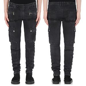 Erkek Vintage Kargo Cepler İnce Biker Jeans Casual Streç Denim Pantolon Uzun Pantolon Artı Boyutu 42