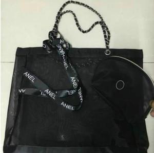 Klassische hochwertige Mesh große Kapazität Einkaufstasche / senden Trompete Handtasche und Farbband Set / Damen waschen kosmetische Lagerung Strandtasche VIP-Geschenk