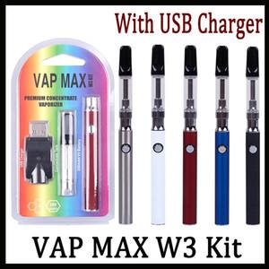 Аутентичные Vap Max W3 Kit 350mAh Preheat VV Премиум-вапорайзер с 0,5 мл 1,0 мл Керамического картриджа для густой масляной Vape