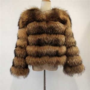 BEIZIRU new Real Fur Natural Raccoon Fur silver short coat winter women Round neck nine quarter Coat