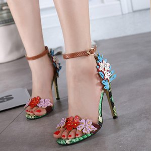 The new summer 2020 fashion Joker ladies slip toe slipper snakeskin super stiletto sandals are essential for banquet weddings