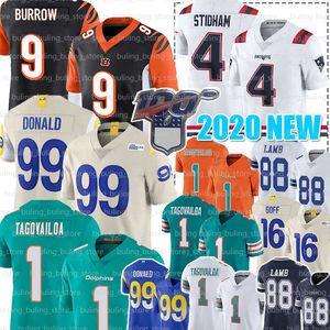 9 Joe Burrow Jersey 99 Aaron Donald 1 Tua Tagovailoa 4 Jarrett Stidham 88 CeeDee Lamb 16 Jared Goff Football Jerseys