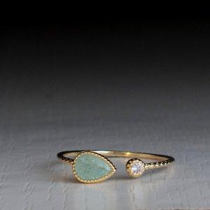 Dainty Solid Silver Gelbgold natürliche grüne Stein Open-Ring-justierbare Stacking Ringe Hochzeit Schmuck-Geschenke (S925 STAMP)