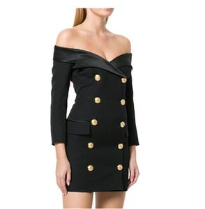 2020 Белый и черный Новые моды Runway Designer платье Верхняя одежда женщин с плеча Двойной Брестед Зубчатый воротник куртки пальто