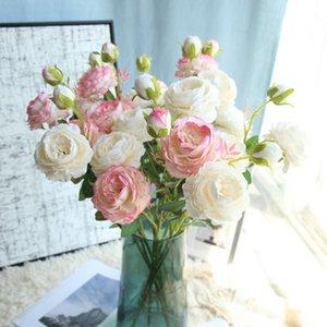 Silk Artificial Fake Western Rose Flower Peony Bridal Bouquet Wedding Classic European Style Wedding Home Decor small fresh