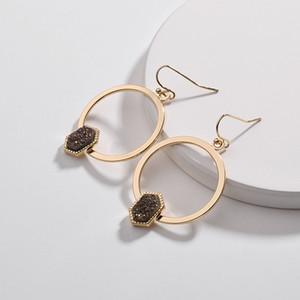 2019 nuovi orecchini a cerchio esagonale Druzy Dandle con cerchio geometrico oro per gioielli firmati da donna Orecchini KS all'ingrosso