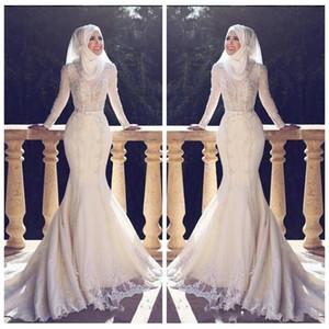Musulmán delgado estilo de cola de pescado árabe sirena vestidos de novia de manga larga de encaje apliques o cuello Hijab sirena vestidos de novia largos