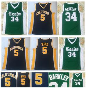 Alta calidad California Golden Bears 5 Jason Kidd Jersey 34 Charles Barkley Escuela secundaria Leeds College Camisetas de baloncesto
