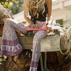 Kadınlar Boho Hippi Yüksek Bel Gevşek Geniş Bacak Flared Bell Alt Flroal Uzun Pantolon