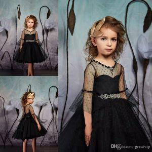 Pentelei 2019 Black Flower Girl Dresses Jewel Neck Kee Length Little Girls Pageant Dresses Tulle A Line Communion Dress