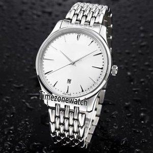 Nuevo Master Ultra Thin 1288420 Q1288420 Caja de acero 43mm Dial blanco Reloj automático para hombre Relojes deportivos de acero inoxidable Timezonewatch E23