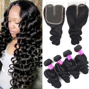 9A Malaysian Virgin Haar Weaves 4 Bündel mit Top-Spitze-Schliessen 4x4 lose Deep Water Wave-Verlängerungs-Haar-Bundles und Menschliches Haar Closures