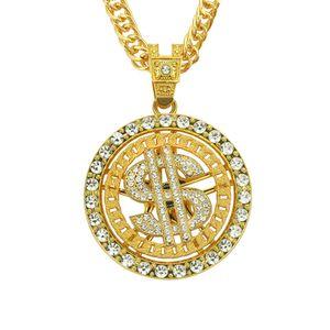 Mens Роскошные ювелирные изделия ожерелья конструкции способа серебра золота Rhinestone Круглый Iced Out US Dollar Подвеска Punk цепи Hip Hop ожерелье подарков для мужчин