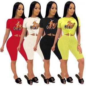 Женщины Лето Trackuits Женщины Симпатичный Prinitng 2pcs шорты Мода Crew Neck короткого рукав длина колено Два комплект шт
