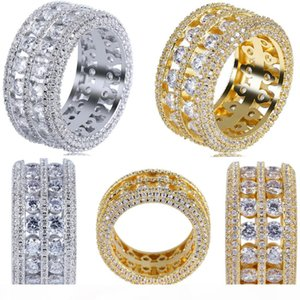 Mens ring vintage hip hop jewelry Zircon iced out copper rings luxury gold silver plated for lover fashion Jewelry wholesale 2019