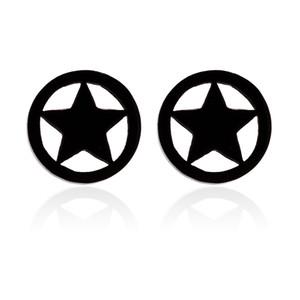Çelik Siyah Daire Saplama Küpe Pentagram Yıldız Erkek Kadın Cheater Sahte Kulak Tıkaçları Göstergeleri Tünel