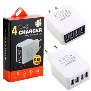 4 Usb ports 5.1A Eu US Ac home travel wall charger plug for iphone ipad samsung galaxy s8 s9 android phone pc mp3