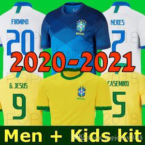NEYMAR JR BRAZIL maglia da calcio 2020 2021 20 21 America NERES JESUS FIRMINO COUTINHO Brasile squadra nazionale di calcio maglia camicia uomo e bambino set uniforme