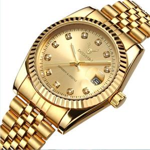 Men watch Deerfun brand business gold diamond fashion calendar waterproof quartz wristwatch Relogio Masculino