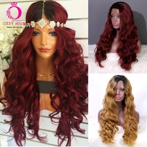 OLEY Hair Red Wig Glueless Synthetic Lace Front Wig Heat Resistant Side-part Long Wavy Brown Ombre Wigs For Black Women