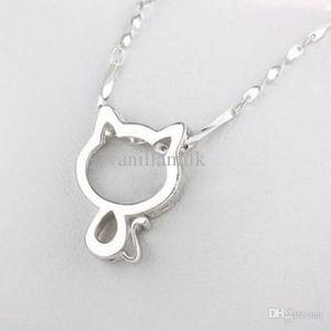 """Collar lindo del gato del gato Mujeres Tiny Collar Gargantilla colgante con 17.7"""" Cadena de joyería de moda encantador del gatito exquisito plateado plata Collares"""