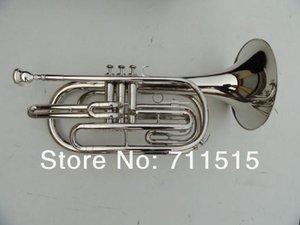 Plateado plata Marching Barítono Bb latón instrumento de música Cuerno con Boquilla de nylon caso del envío