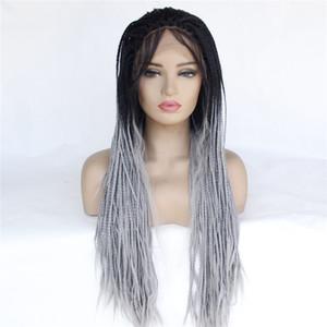 tresse long style haut de gamme cheveux synthétiques perruque HD dentelle perruques tressées boîte avant pour les femmes noires