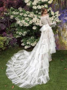 2020 Papilio Fairy Свадебные платья Линия плеча Высокий Низкий кружева аппликация Bohemian свадебное платье сад Дешевые Длинные Свадебные платья