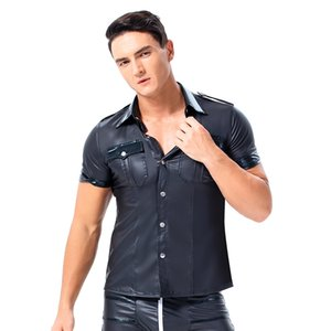 Mens T-shirts PU Leather Short Sleeve T Shirt Sexy Black Faux Leather Shirt Wet Look Undershirt Sissy Party Clubwear Gay Costume Shirts