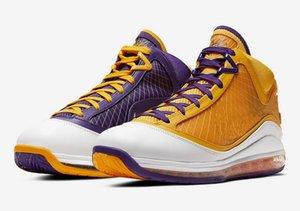 LeBron 7 Medientag Lakers zum Verkauf mit dem Kasten der Männer Basketballschuhe Billig Wholesale-freies Verschiffen US7-US12