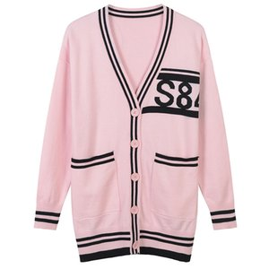Мода-2018 Кнопка Cardigans Марка Same Style Pink Letter жаккардовых женщины Золотой линия Свитер Женского 16