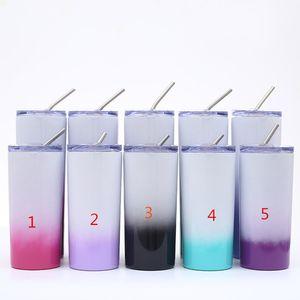 6colors !! yeni 16oz sıska küçük mandal 304 Paslanmaz Çelik bardak araba fincan Multicolors kahve kupaları kadehler saman kapaklı Hediyeler perfet