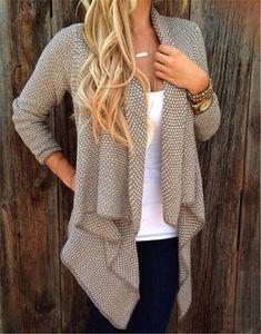5 pezzi Autunno Inverno Donna allentato Knit Waterfall Cardigan Jacket manica lunga irregolare maglione cappotto