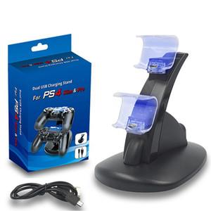 1PC المزدوج تحكم USB شاحن شحن حوض حامل لتشغيل محطة 4 PS4 PS4 سليم PS4 برو لعبة الألعاب اللاسلكية وحدة تحكم