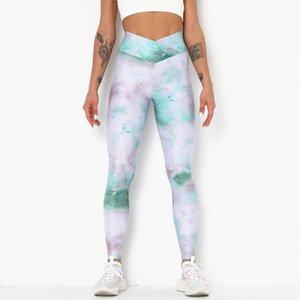 Women High Waist Lift Hip Tight Sports Yoga Pants Fitness Tie Dye Jacquard Bottoming Yoga Pants