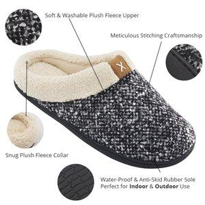 WEH accogliente Memory Foam pantofole Fuzzy lana come peluche foderato in pile Uomini Casa Scarpe Interni Esterni Anti-Skid suola in gomma