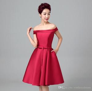 kokteyl elbisesi de parti elbise için Bateau Boyun Kırmızı kısa Cocktial Elbiseler Saten Gelin elbise vestido coctel kısa elbise