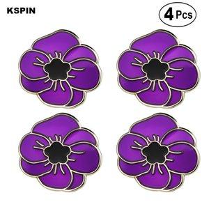 Bandeira Pin roxo da flor da papoila Broches lapela broche emblema Pinos Badges 4PC