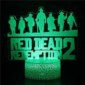 Çocuk Yatak Odası Çocuk Hediyeler için APEX LED Gece Işığı Değiştirme Red Dead Redemption 3D LED Gece Işığı Magic 16Color