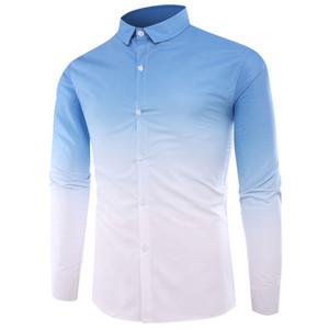Повседневные рубашкиНовые мужские геометрические цвета градиента Slim Fit классическая рубашка мода camisa masculina высокое качество рубашка с длинными рукавами