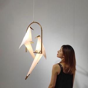 Pássaro moderna luminária nórdico Pingente luzes do guindaste de Origami Pingente de teto I208 Lamp Sala parede Lâmpada de mesa de iluminação