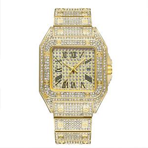 2021 Männer Mode-Uhr 45mm Edelstahl-Design-Uhren-Shinning-Diamant voller Euro-Out-Uhren-Quarz-Bewegung Sport Armbanduhr