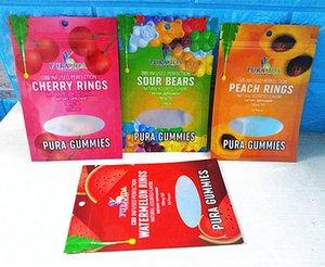 pura sac de gummies ours acides mylar fermeture à glissière refermables semll preuve comestibles sac d'emballage joint trois latérale
