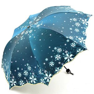 2019 New Arrival Beautiful Flowers Umbrella Fashion Glitter Color Changing Women Umbrellas Blossom Girl Sun Parasol Gift SP048 Y200324