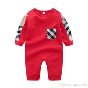 Yenidoğan Bebek tulum 2020 bahar yeni stil uzun kollu o-boyun yüksek kaliteli pamuk çocuklar erkek giyim dış giyim ekose romper ins