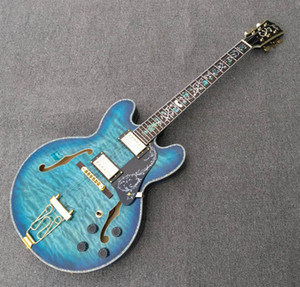 Deluxe blue quilted gloss finish semi hollow body 335 electric guitar,Abalone inlay and purfling,Gold hardware guitars