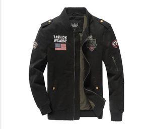Uomo Autunno Cargo Giacche Solid Panelled Cerniera cappotti stand colletto della giacca a maniche lunghe Ricamo Abbigliamento Uomo