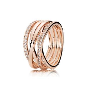 Nova Charming enredar Anel Luxo Designer 925 Sterling Silver Rose Box Original ouro CZ Diamante Set para anéis de casamento de Pandora Mulheres