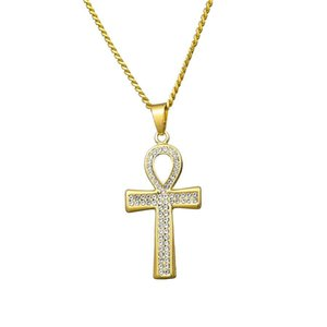 New Fashion Men Iced Out Cross Pendant Necklace Hip Hop Jewelry Full Rhinestone Design 60cm Long Link Chains Punk Necklaces For Men Gift